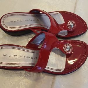MARC FISHER SIZE  8 Red  Wedge Sandals